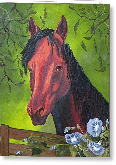 Greeting Card featuring the painting Arabian Horse by Terri Mills