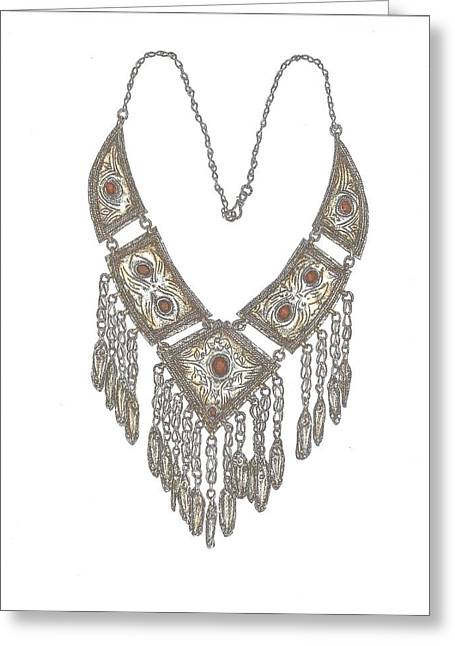 Arabian Necklace Coloured Greeting Card