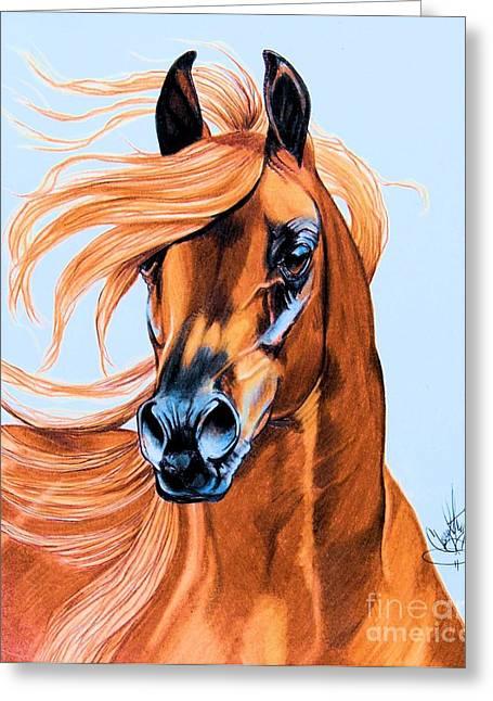 Arabian Portrait In Color Pencil Greeting Card by Cheryl Poland