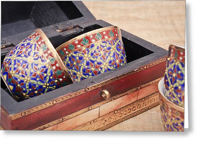 Arabian Teacups Greeting Card by Tom Gowanlock