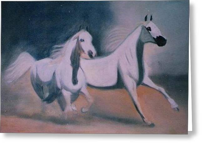 Arabic Horses Greeting Card by Rami Besancon