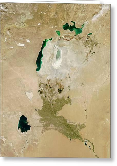 Aral Sea Greeting Card by Nasa/jeff Schmaltz