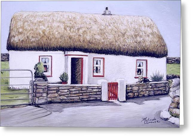 Greeting Card featuring the painting Aran Island Thatched Roof Cottage  by Melinda Saminski