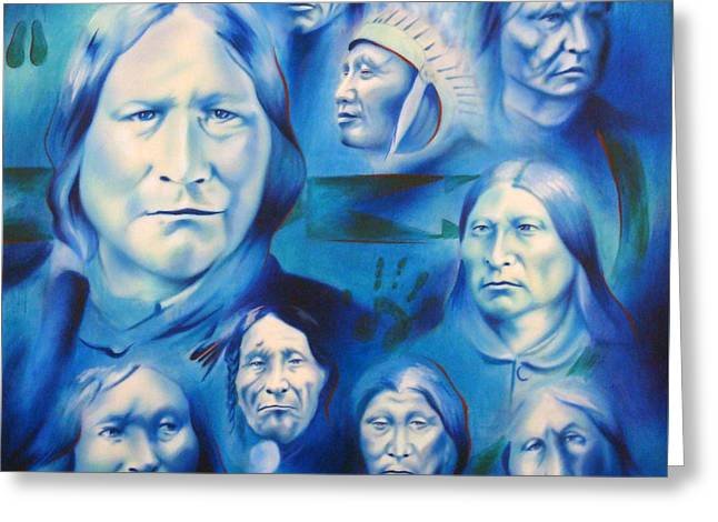 Arapaho Leaders Greeting Card by Robert Martinez