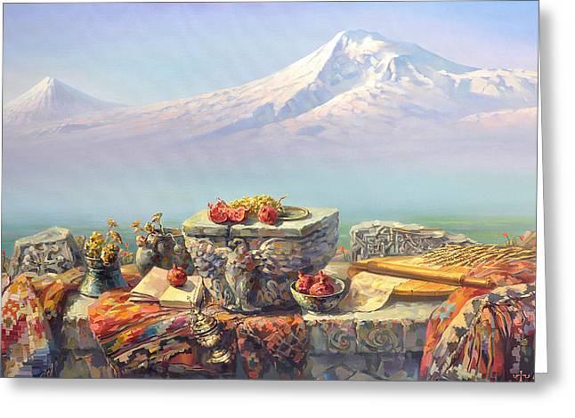 Ararat With A Lavash Greeting Card by Meruzhan Khachatryan