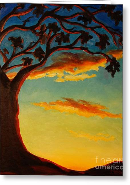Greeting Card featuring the painting Arbutus Sunrise by Janet McDonald