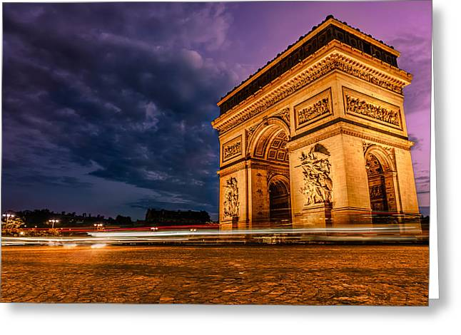 Arc De Triomphe At Dusk In Paris Greeting Card by James Udall