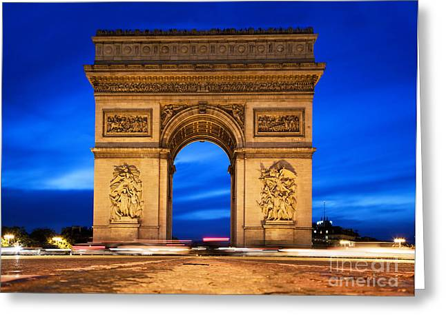 Arc De Triomphe At Night Paris France  Greeting Card by Michal Bednarek