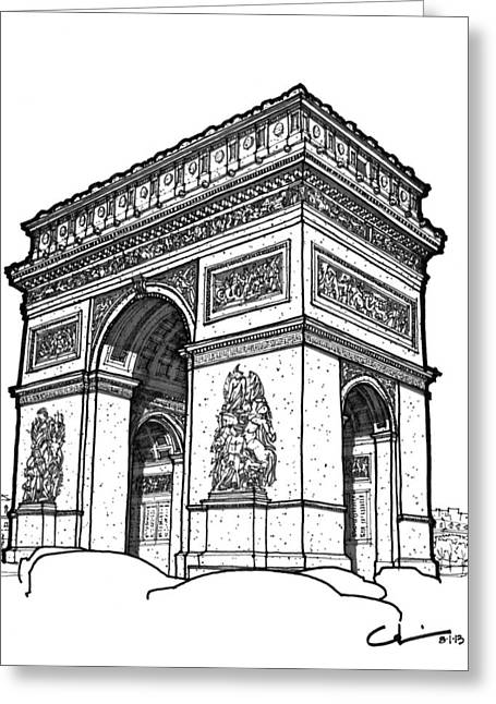 Greeting Card featuring the drawing Arc De Triomphe by Calvin Durham