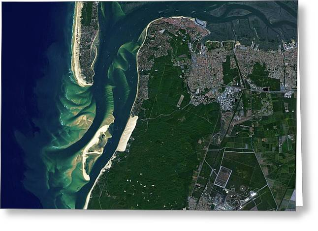 Arcachon Bay Greeting Card by Jaxa/european Space Agency
