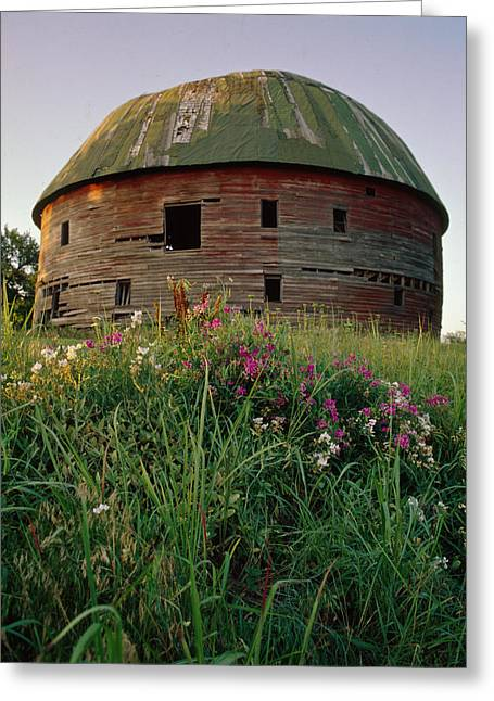 Arcadia Round Barn And Wildflowers Greeting Card
