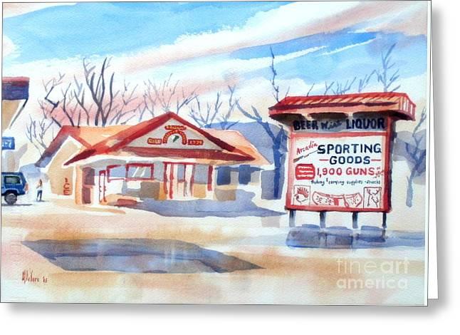 Arcadia Sporting Goods In Winter Blue Greeting Card by Kip DeVore