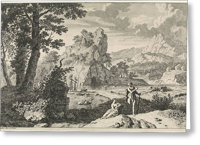 Arcadian Landscape With Ruins, Print Maker Johannes Glauber Greeting Card by Johannes Glauber