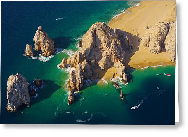 Arch Aereal View Lover's Beach Side Greeting Card by Camilla Fuchs