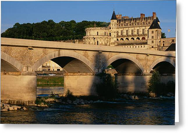 Arch Bridge Near A Castle, Amboise Greeting Card by Panoramic Images