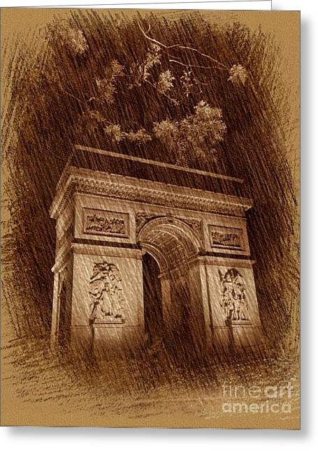 Arch Drawing Greeting Card by John Malone