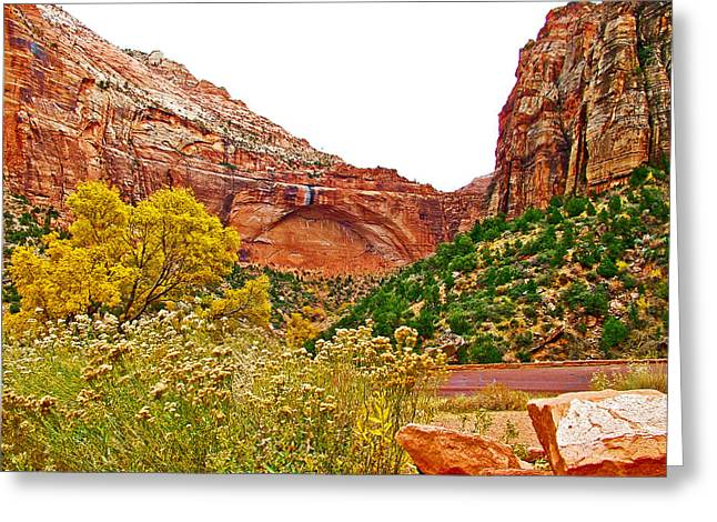 Arch In Progress From Zion-mount Carmel Highway In Zion National Park-utah  Greeting Card