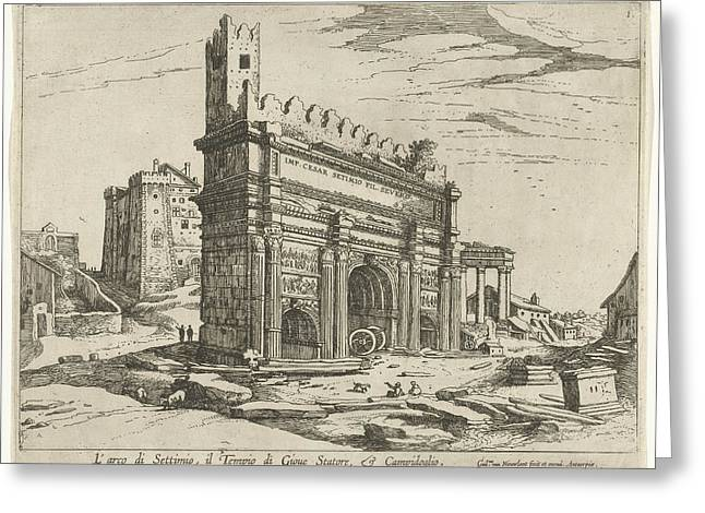 Arch Of Septimius Severus And The Capitol Greeting Card by William Of Nieulandt Ii