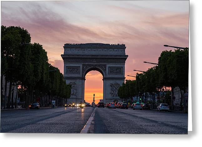 Arch Of Triumph With Dramatic Sunset Greeting Card by Gurgen Bakhshetsyan