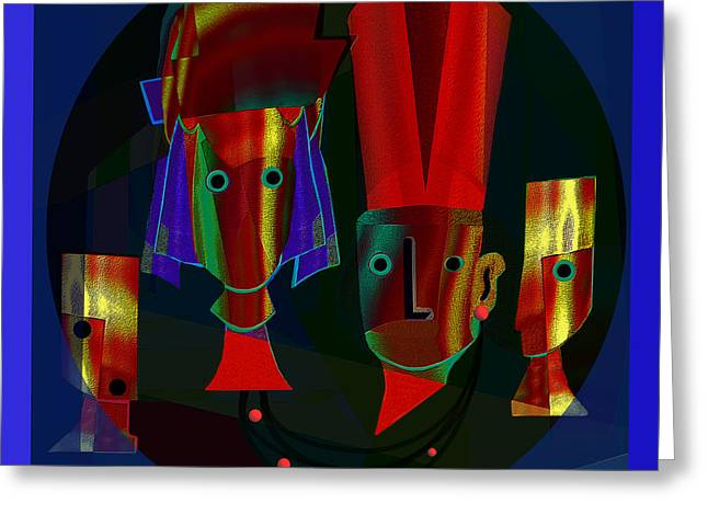 Archaic Heads - 837 Greeting Card by Irmgard Schoendorf Welch