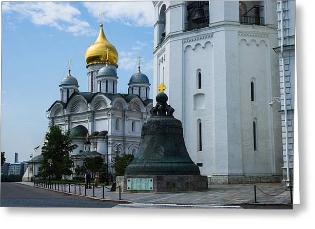 Archangel Cathedral And Czar Bell Of Moscow Kremlin Greeting Card