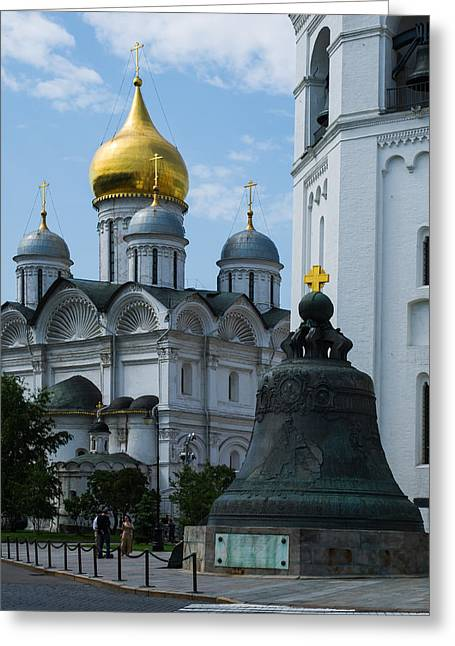 Archangel Cathedral And Czar Bell - Square Greeting Card by Alexander Senin