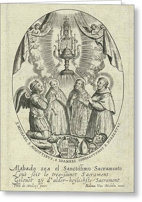 Archangel Michael And Saints Under A Monstrance Greeting Card by Quint Lox