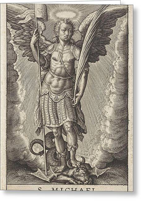 Archangel Michael, Anonymous, Hieronymus Wierix Greeting Card by Anonymous And Hieronymus Wierix And De Wit