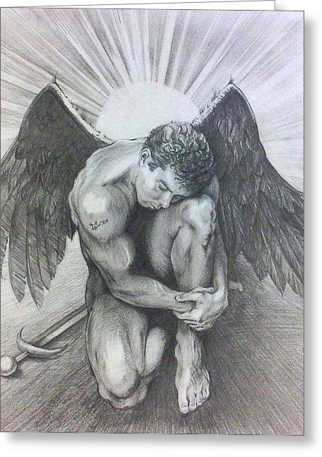 Archangel Michael Greeting Card by Karina Griffiths