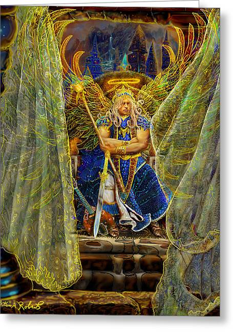 Greeting Card featuring the painting Archangel Michael-angel Tarot Card by Steve Roberts