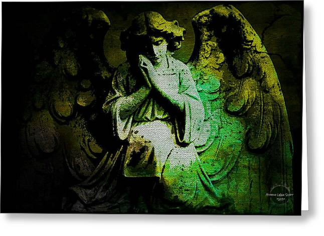 Greeting Card featuring the digital art Archangel Uriel by Absinthe Art By Michelle LeAnn Scott