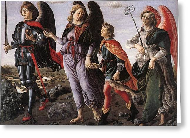 Archangels With Tobias Greeting Card by Renaissance Master