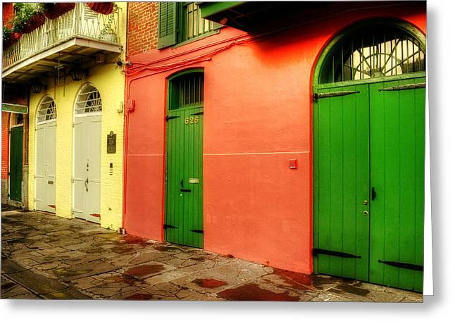 Arched Doors Of Pirates Alley Greeting Card by Chrystal Mimbs