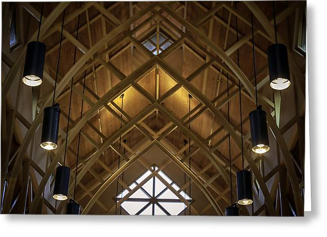 Arched Trusses - University Of Florida Chapel On Lake Alice Greeting Card by Lynn Palmer