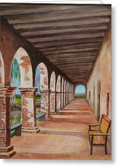 Arched Walkway At Noon  Greeting Card by Jan Mecklenburg