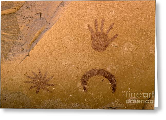 Archeoastronomy Pictographs Greeting Card by Frank Zullo