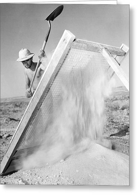 Archeologist At Work Greeting Card by Underwood Archives