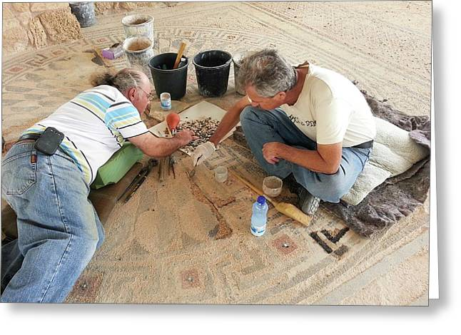 Archeologists Restore A Mosaic Floor Greeting Card by Photostock-israel
