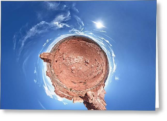 Arches National Park Little Planet Greeting Card by Juan Carlos Diaz Parra