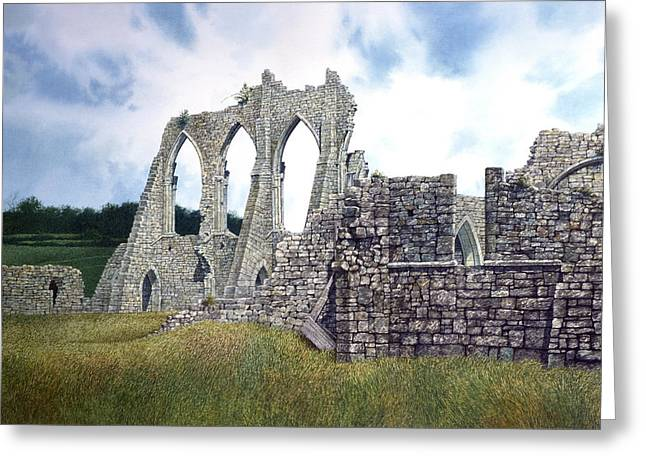 Greeting Card featuring the painting Arches Of Bayham Abbey by Tom Wooldridge