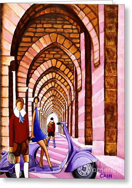Arches Vespa And Flower Girl Greeting Card by William Cain