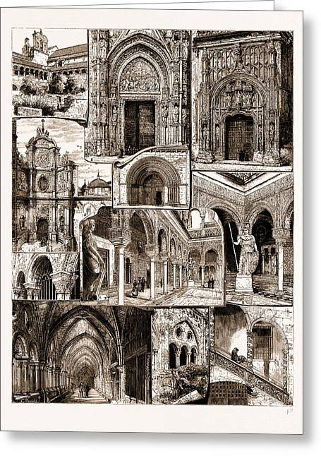 Architectural Art In Spain, 1883 1. Ancient Convent Of San Greeting Card by Litz Collection