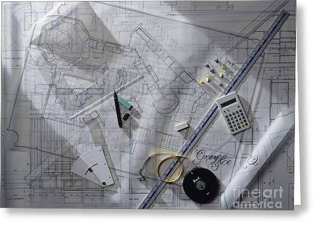 Architectural Blueprint And Tools Greeting Card by Peter Anderson / Dorling Kindersley
