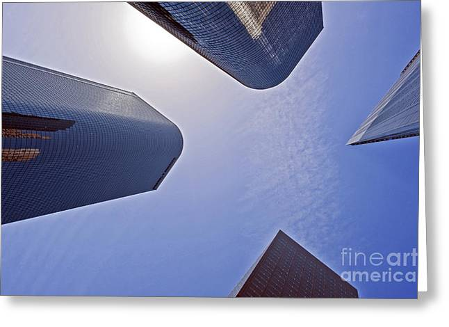 Architectural Bunker Hill Financial District Greeting Card by David Zanzinger