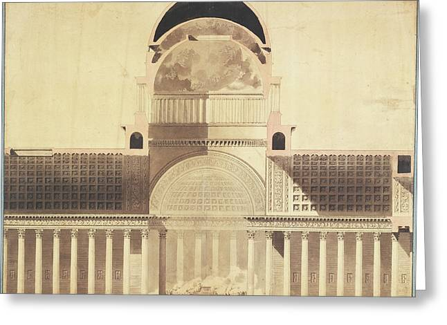 Architectural Project For The Church Of The Madeleine Greeting Card by Litz Collection