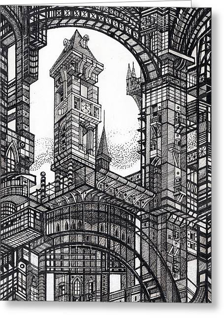 Architectural Utopia 6 Fragment Greeting Card by Serge Yudin