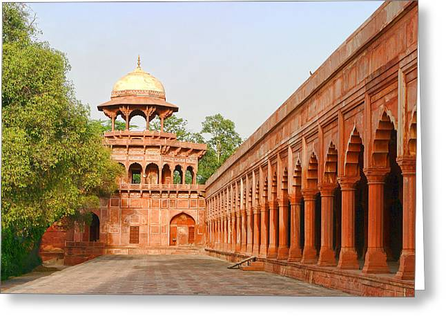 Architecture At Taj Mahal Complex Greeting Card by Linda Phelps