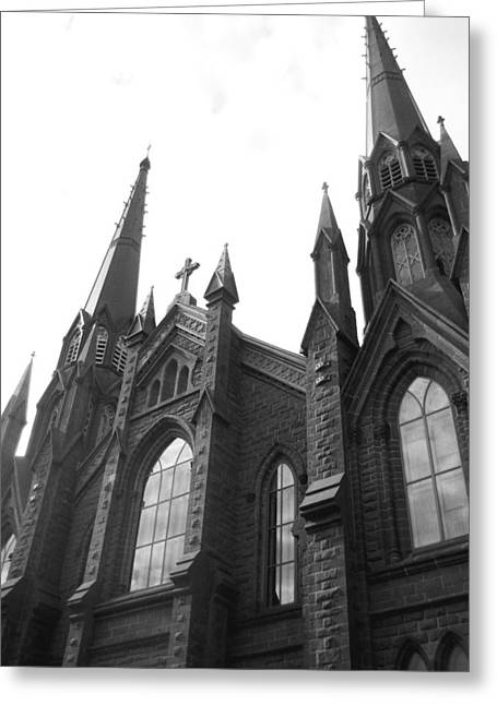 architecture churches . Gothic Spires in Black and White  Greeting Card by Ann Powell