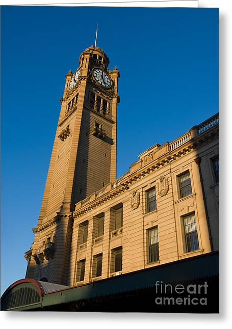 Architecture Of The Past - A Tall Station Clock Tower Greeting Card