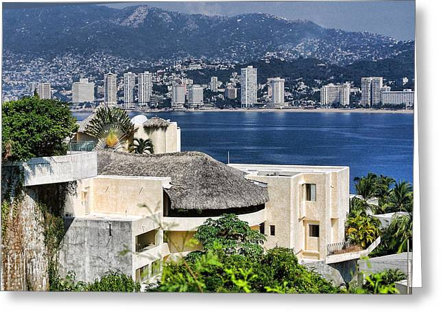 Architecture With Ith Acapulco Skyline Greeting Card by Linda Phelps